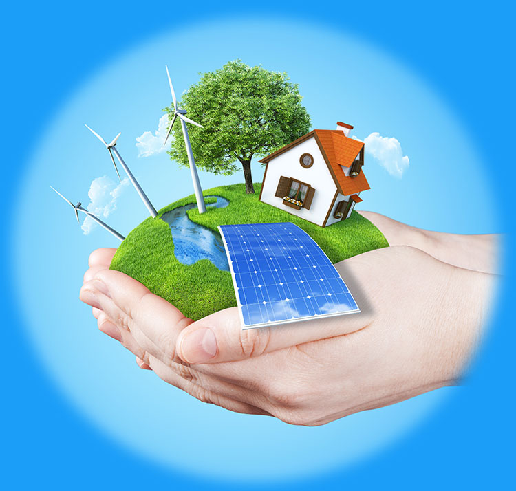 Hand holding a home surrounded variety of renewable energy sources